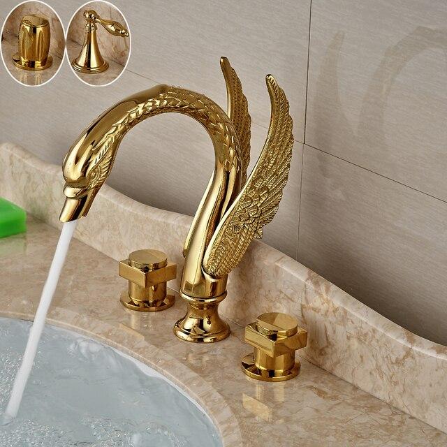صنبور لحوض غسيل ذهبي بمقبض مزدوج على شكل بجعة ، صنبور خلاط لحوض الحمام مع الماء الساخن والبارد