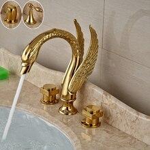 Kuğu Şekli Çift Kolu Altın Yıkama Havzası Musluk Yaygın Güverte Üstü Banyo batarya Musluk Sıcak ve Soğuk Su