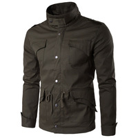 Men's bassic jacket cotton autumn winter zip up thin stand collar top male coat slim casual leisure plus large size M 4XL