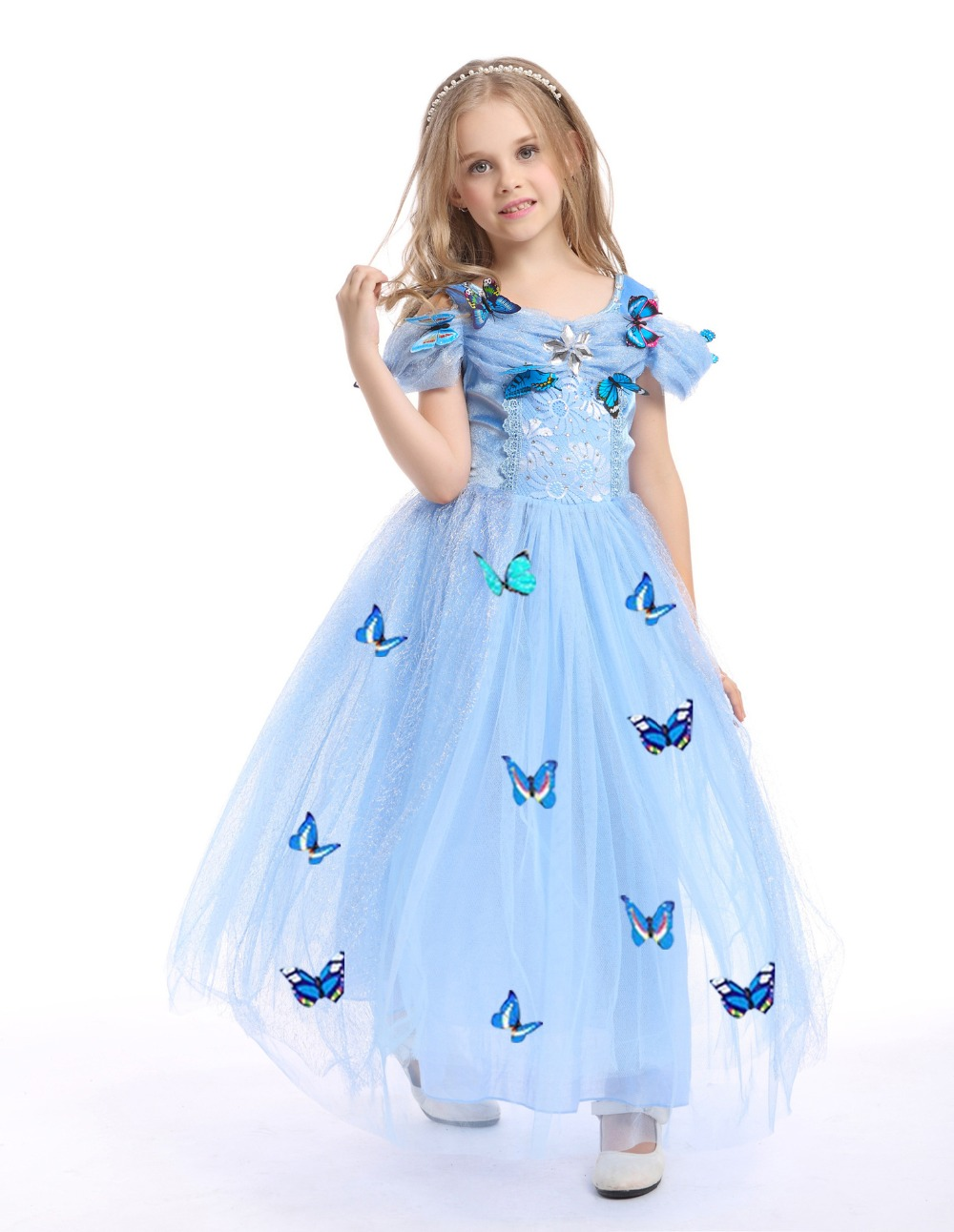 c4daf7c7d4c10 US $15.81 |Girls Party Dresses Ruffle Vintage Vestido Elsa Anna Long Dress  Sophia Princess Costume Kids Evening Dresses Girl Maxi Dress-in Dresses ...