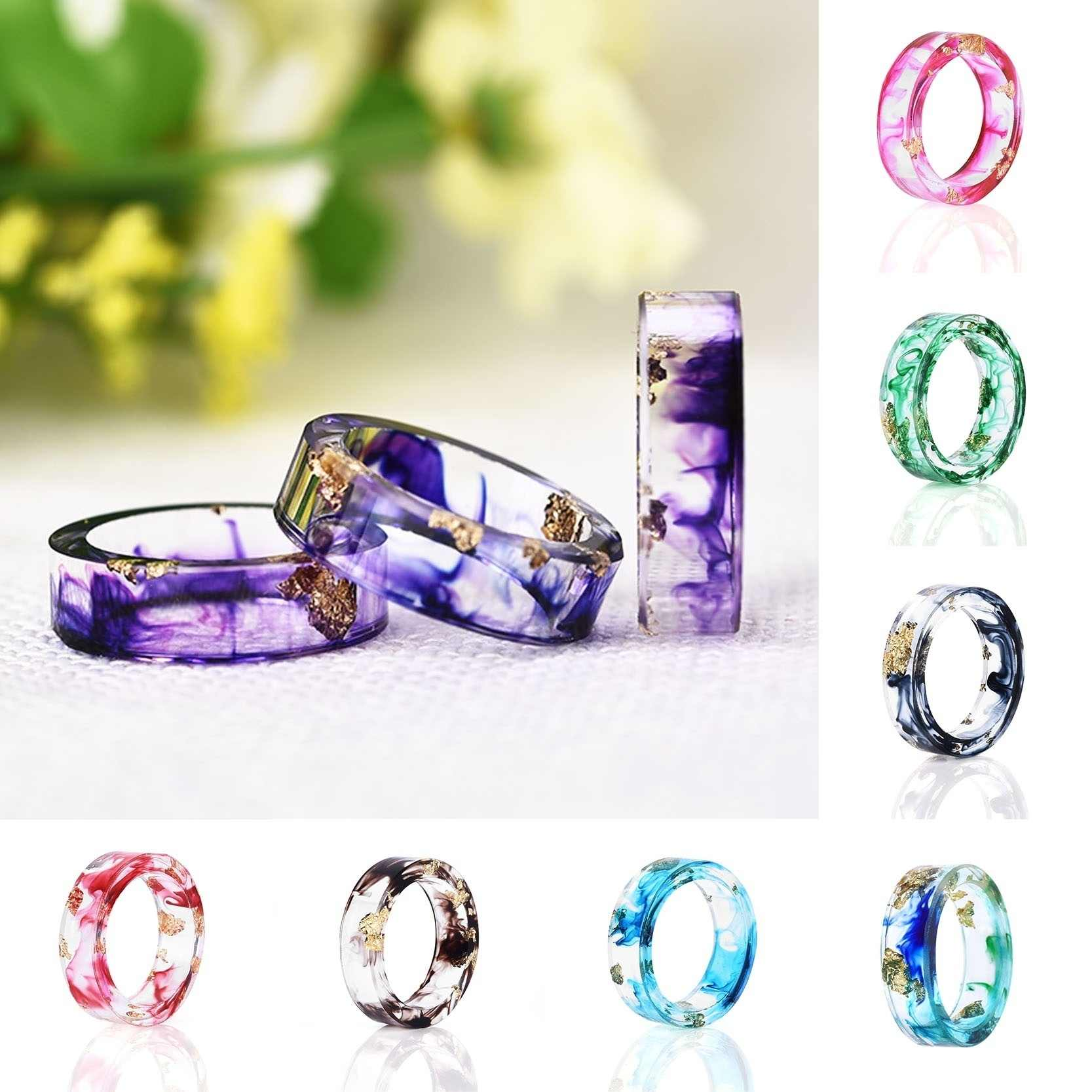 Dropship 9 Colors Gold Foil Paper Inside Resin Ring for Women Fresh Handmade Dry Flower Ring Best Mold Dried Flowers DIY Ring