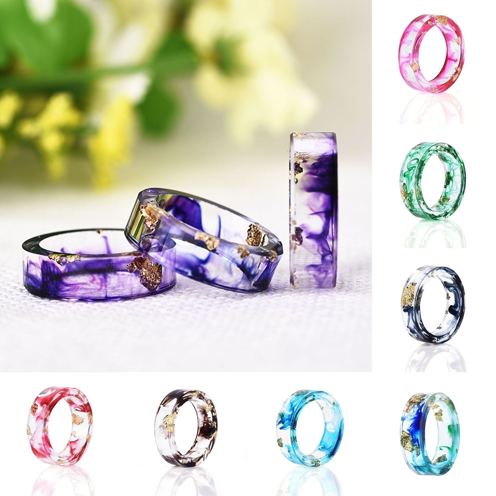 Gold Women Paper Dried Flowers Painting Colorful Resin Handmade Rings Jewelry