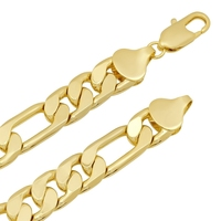 10mm Solid 24k Gold Filled Figaro Chain Necklace For Men
