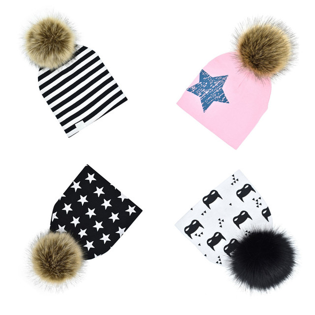 906e2050da2 Winter Boys And Girls Caps Baby Faux Fur Baby Beanies Cotton Pom Pom Bobble  Hat For