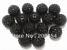 20mm 100pcs/lot  Black Resin Rhinestone Ball Beads,Chunky Beads For Kids  Jewelry Making