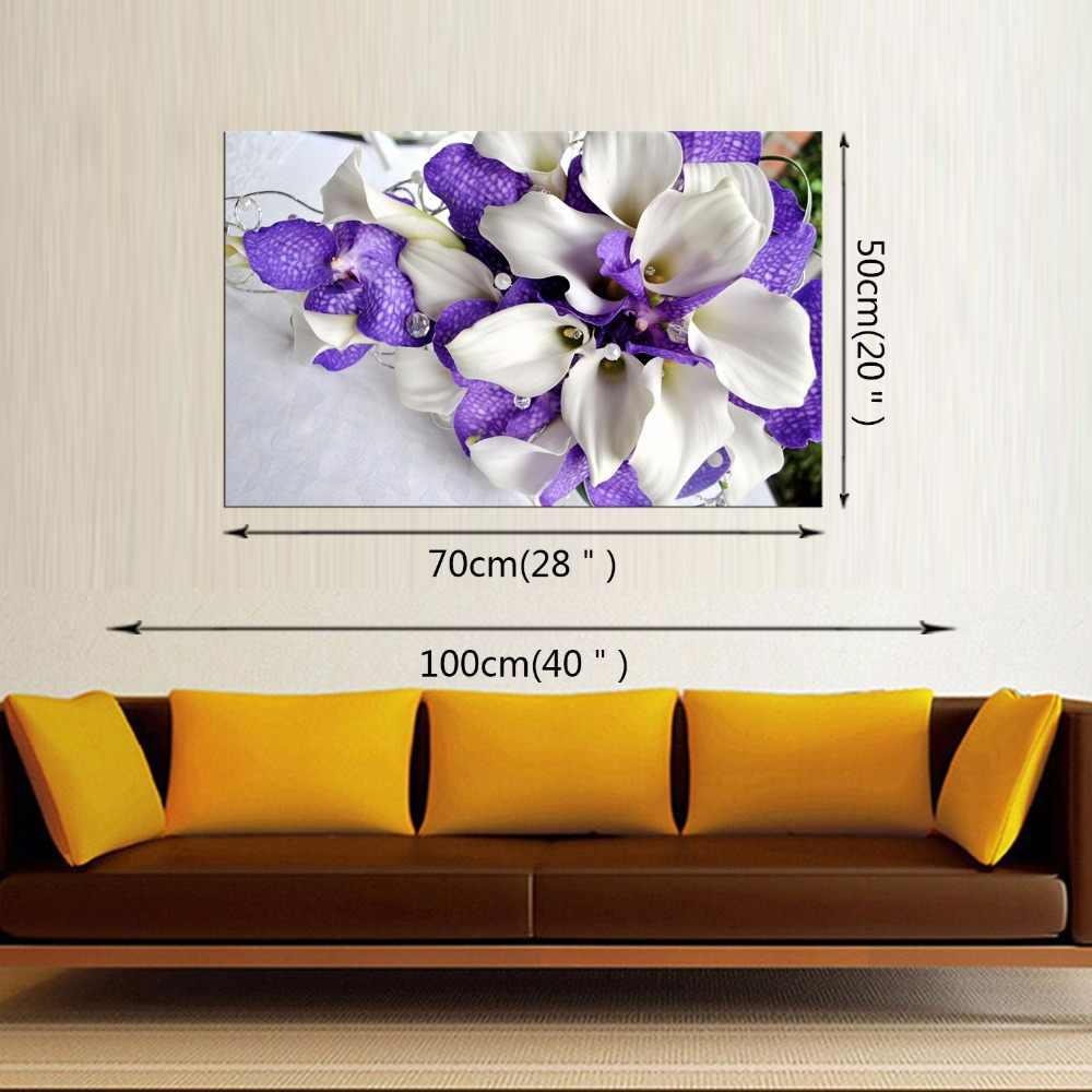 1 panel free shipping HD New Purple Flower Wall Art Painting Prints On Canvas Painting Abstract Flower Canvas Living Room Frame