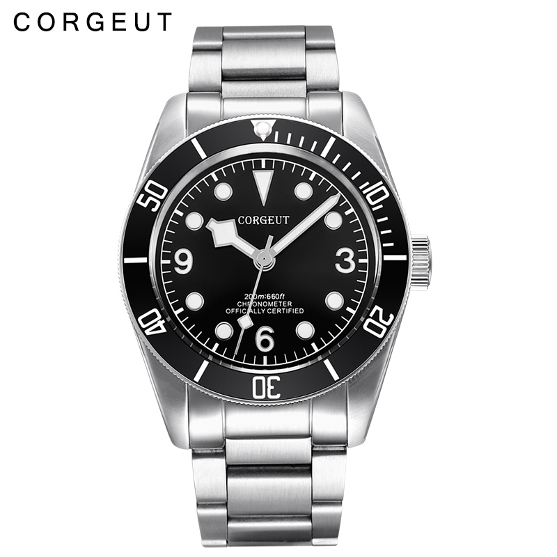 New Corgeut 41MM Luminous Sapphire glass Black dial stainless steel strap mens Japan Miyota Automatic Watch 41mm corgeut black dial sapphire glass miyota automatic movement mens watch c03