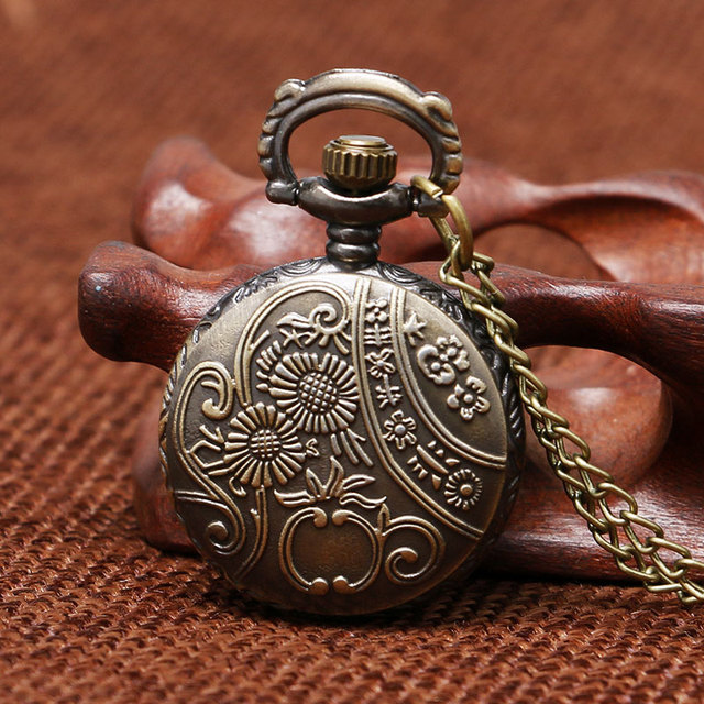 Vintage Relogio Coruja Mini Size Small Dial Owl Bronze Quartz Pocket Watch Necklace Clock Hour Pendant for Women Children Gifts