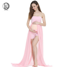 (170cm) Maternity Maxi Dress Boob Tube On Top with Shorts Free Size Split Front Chiffon For Photography Props Dress knot front pleated striped tube top with shorts