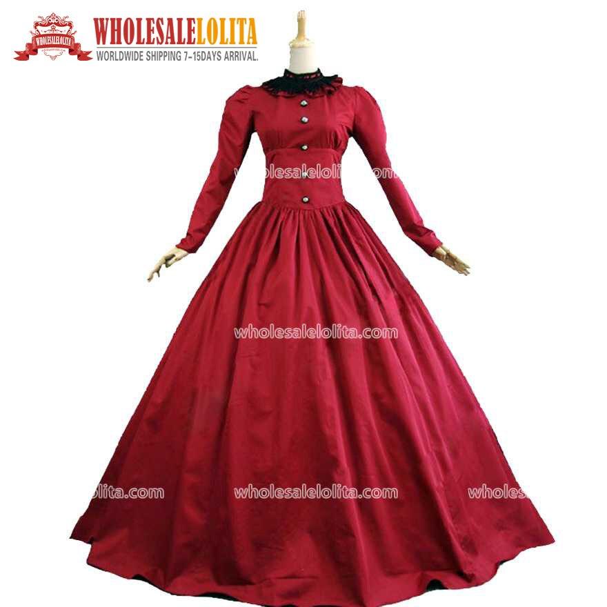 Viktoriánské gotické burgundské období šaty šaty divadelní kostým Vintage míčové šaty