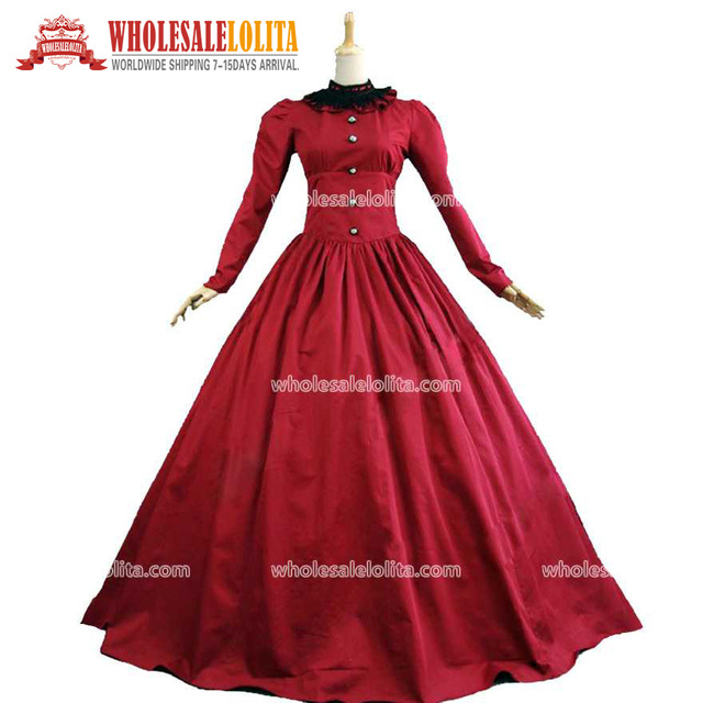Victorian Gothic Burgundy Period Dress Gown Theatrical Costume Vintage Ball  Gowns 5cd74541f577