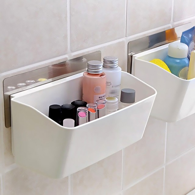 Marvelous Multi Function Wall Sucker Self Adhesive Bathroom Storage Kitchen Shelving  Paste Organizer Shelves Rack