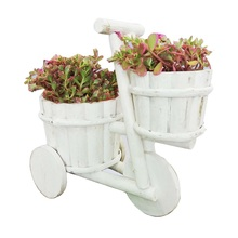 Caioffer Seedling Pots Greative Bicycle Shape Wooden Flower Pot Plants Tub For Office Crafts Wedding Home Decoration CJA04