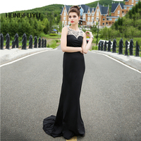 100 Real Sample Black Satin Scoop Neck Sleeveless Long Evening Dresses 2016 Mermaid Beading Backless Evening