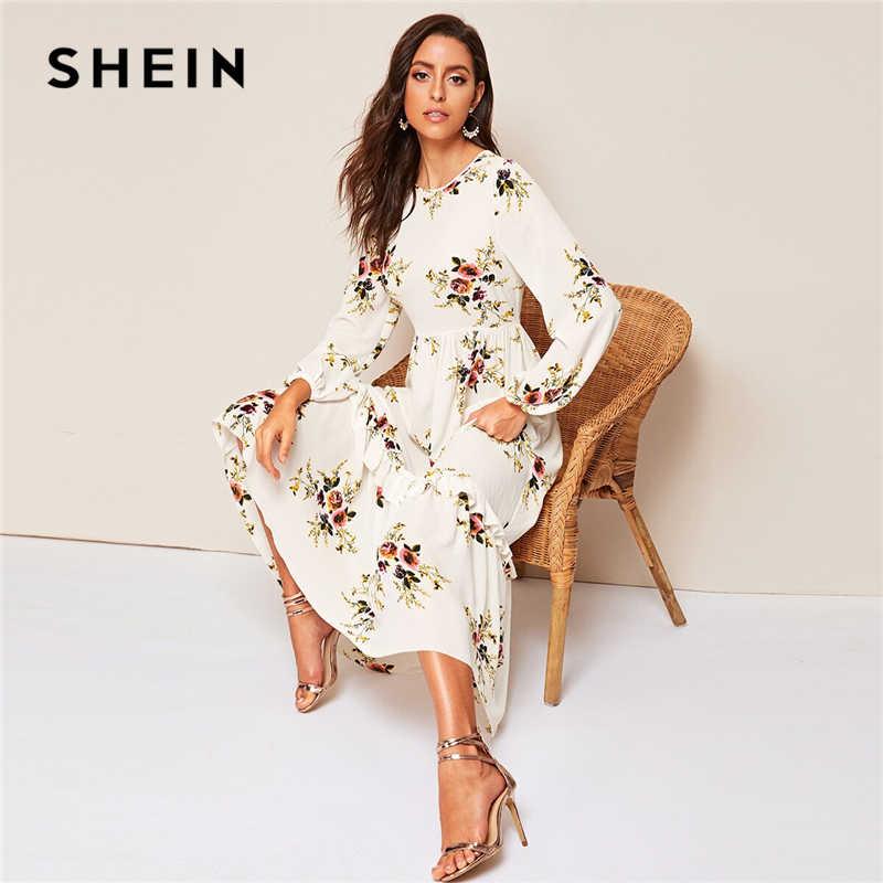 Шеин белый цветочный рюшами подол Fit and Flare длинное платье с высокой талией для женщин демисезонный епископ длинным рукавом Boho элегантны