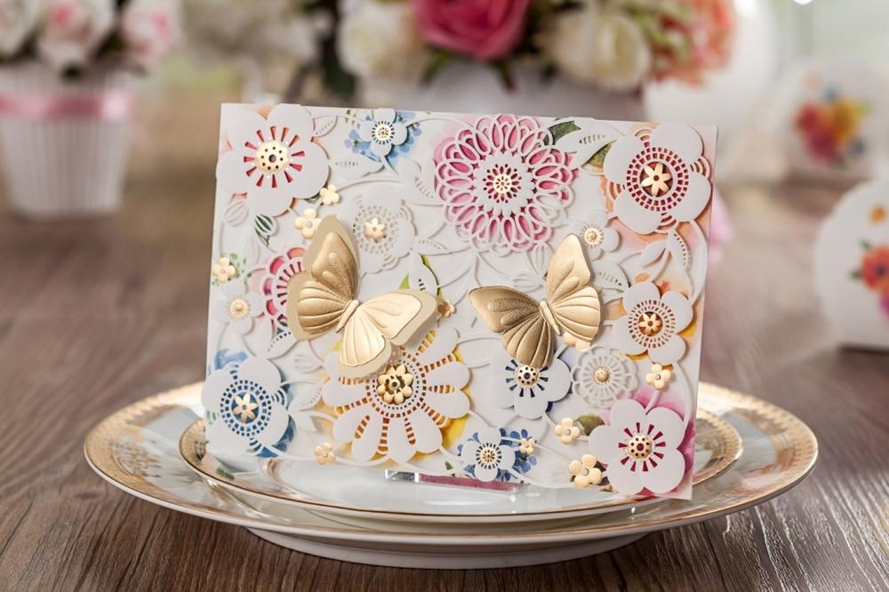 Wedding Invitations In Bulk: Laser Cut Wedding Invitations Kits Elegant Floral Paper