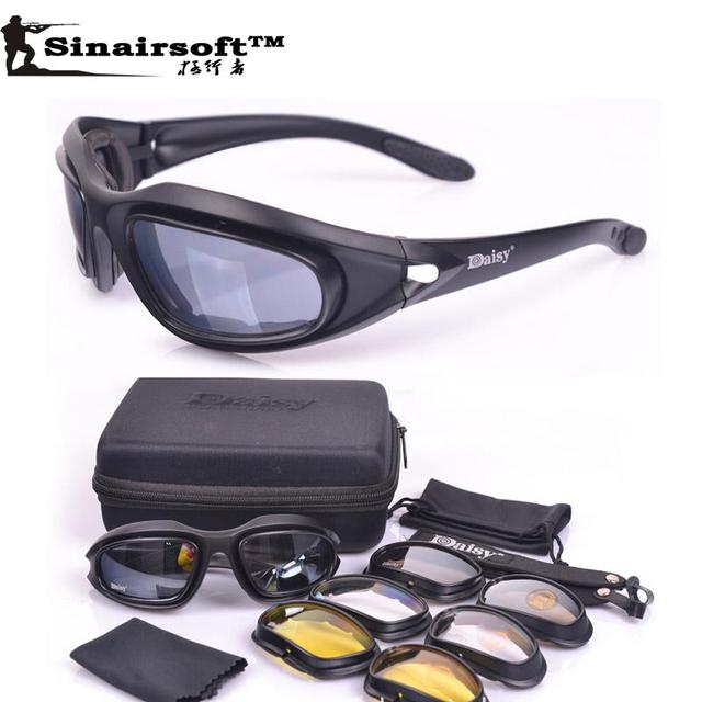 4524d9e09095 Daisy C5 polarized Goggles Desert Storm 4 Lens Outdoor UV400 Protection Hunting  Military Sunglasses with Case War Game Glasses