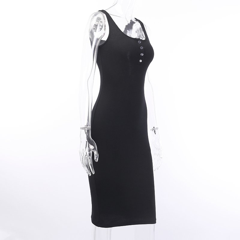 V-Neck Knitted Elastic Sleeveless Button Knee-Length Bodycon Dress 5