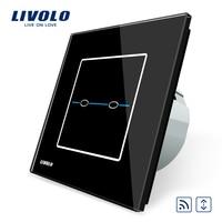 Free Shipping EU Standard VL C702WR SR2 Livolo Black Crystal Glass Panel Curtain Switch Wall Touch