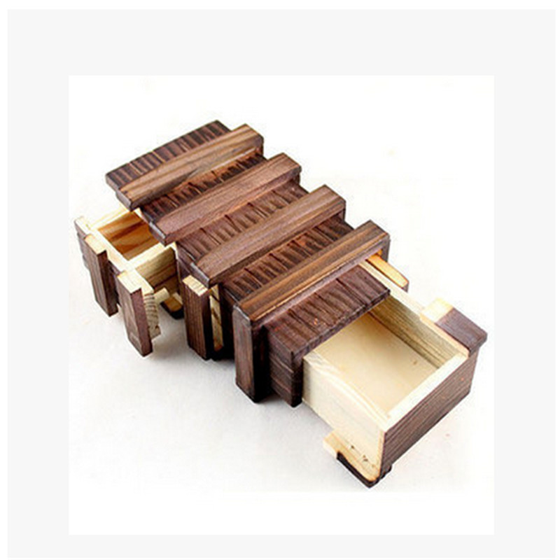 HEY FUNNY 1 piece Wooden Three Open Big Magic Box Adult Puzzle Wood Disassembly Unlocking Organ