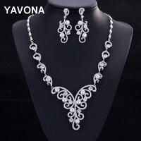YAVONA Pearl Brilliant Women S CZ Cubic Zirconia Jewelry Set Necklace Earrings Wedding Bridal Necklace Dangle