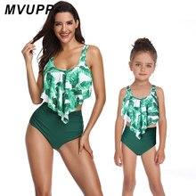 Одежда для маленьких девочек слитный купальник «Мама и я», зеленый купальник с принтом листьев для мамы и дочки, модный бикини, мама, сестра семья