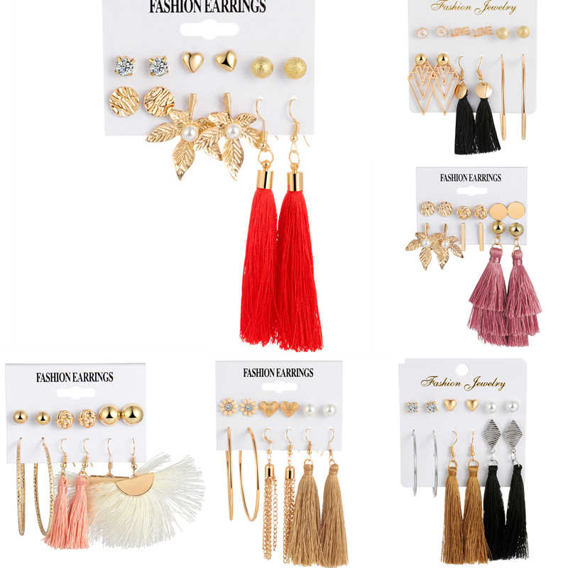 Boho Colorful Tassel Flower Gem Gold Earrings Set Women Punk Stud Earrings Set Personality Party Clothing Jewelry