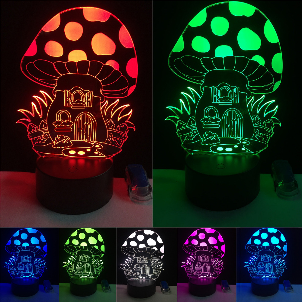 Toys & Hobbies Hot New 7color Changing 3d Bulbing Light Mushroom 2 Illusion Led Lamp Creative Action Figure Toy Christmas Gift