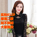 2015 New Autumn Women Shirts Peter pan Collarading Slim Lace Manual Blouse Shirt White Black 612