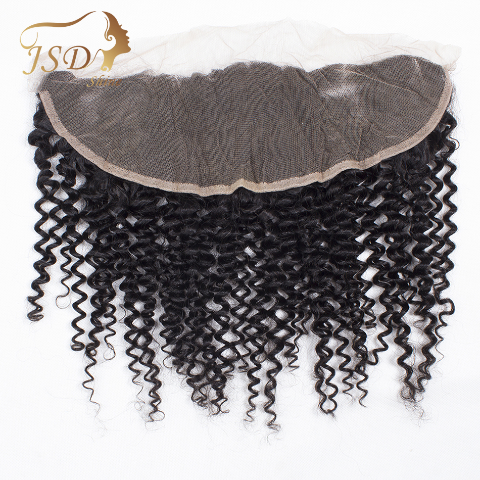 JSDShine Brazilian Kinky Curly Hair Lace Frontal Closure 100% Remy Human Hair Lace Closure Natural Color 8-20
