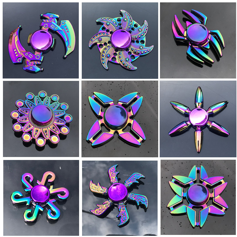 New Zinc Alloy Colorful Fidget Spinner High Quality Anti-Anxiety Hand Spinners Toy for Spinners Focus Relieves Stress(China)