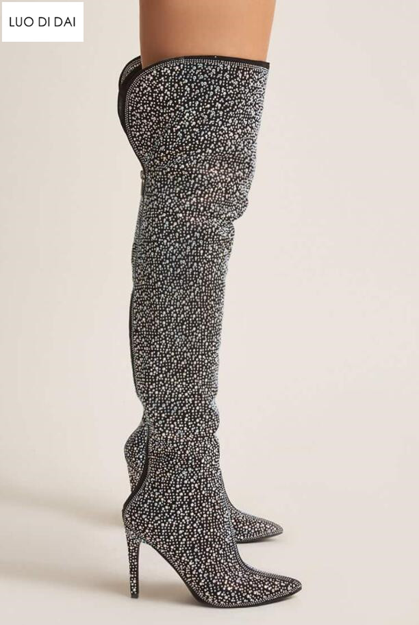 united kingdom differently superior quality 2019 glitter women thigh high boots multi diamond boots over knee ...