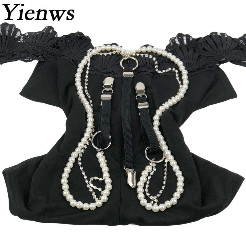 Yienws Female Pants Suspenders 3 Clip Button Trousers Braces For Women Fashion Pearl Beading Diamond Suspenders YiA069