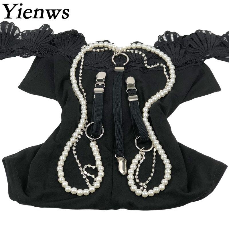 Hosenträger Bekleidung Zubehör Gehorsam Yienws Weibliche Hosen Hosenträger 3 Clip Taste Hosen Hosenträger Für Frauen Mode Perle Perlen Diamant Hosenträger Yia069