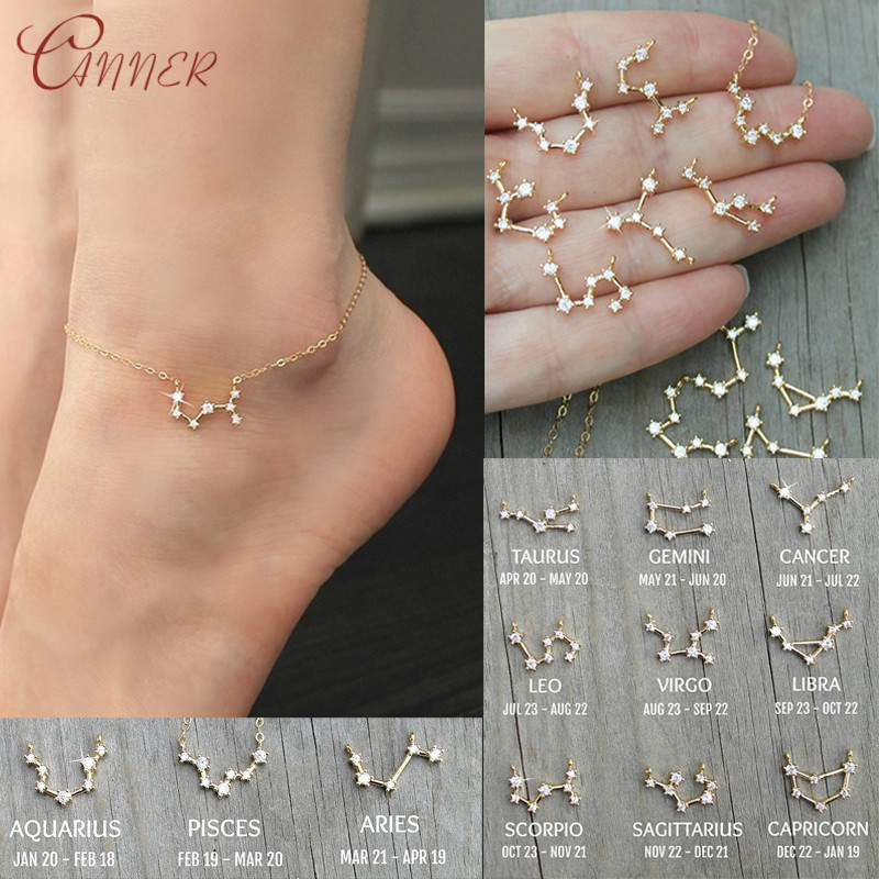 CANNER 12 Zodiac Constellation Anklets Barefoot Crochet Sandals Foot Jewelry Leg Chain Cubic Zircon Ankle Bracelets For Women