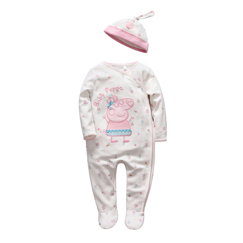 ФОТО tender Babies girl clothes set baby peppa Cartoon jumpsuit hats Newborn baby winter romper cotton long sleeve Infant baby onesie