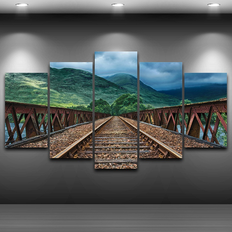 Railway Hills Framed wall art picture Spray Oil Painting Decoration Artistic Printed Drawing on Canvas Printed Home Decor AE0975