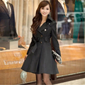 Free Shipping New Fashion women Adjustable Waist Slim Coat Female Outerwear women's Medium-long Double breasted size XXXL