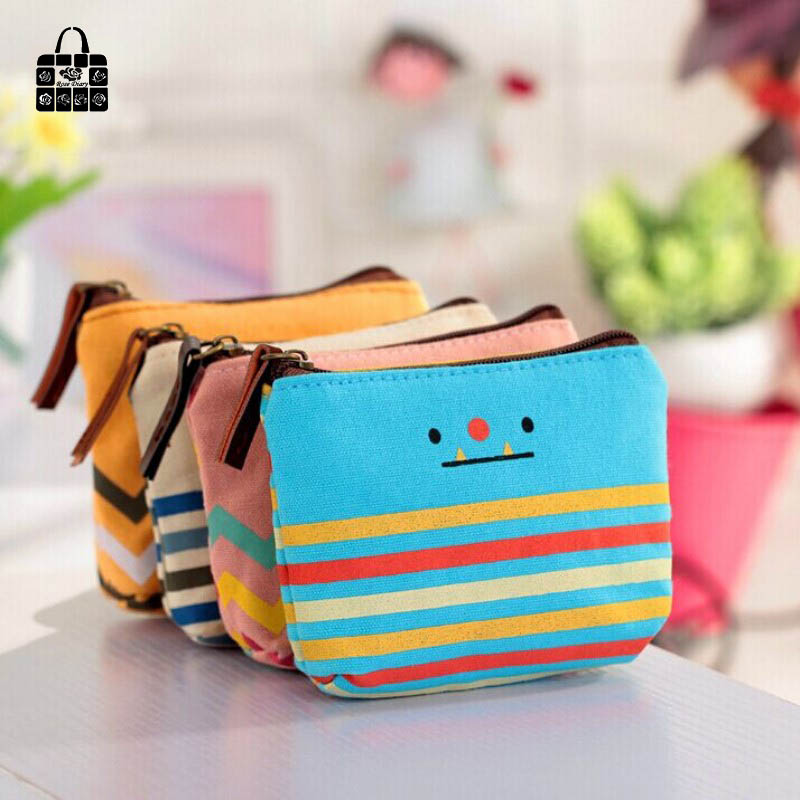 RoseDiary Lovely smiling face Canvas Girls Mini Coin Purses Vogue Classic Coin Wallet Case With Zipper Small Money Bags