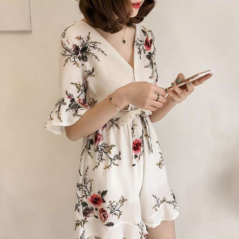 Women Vintage V Neck Ruffles Short Sleeve Rompers Floral Print Playsuits Boho Women   Jumpsuits   With Sashes