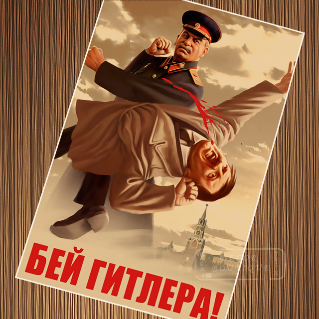 Funny Stalin Wwii Fight Enemy Boxing Ussr Cccp Vintage