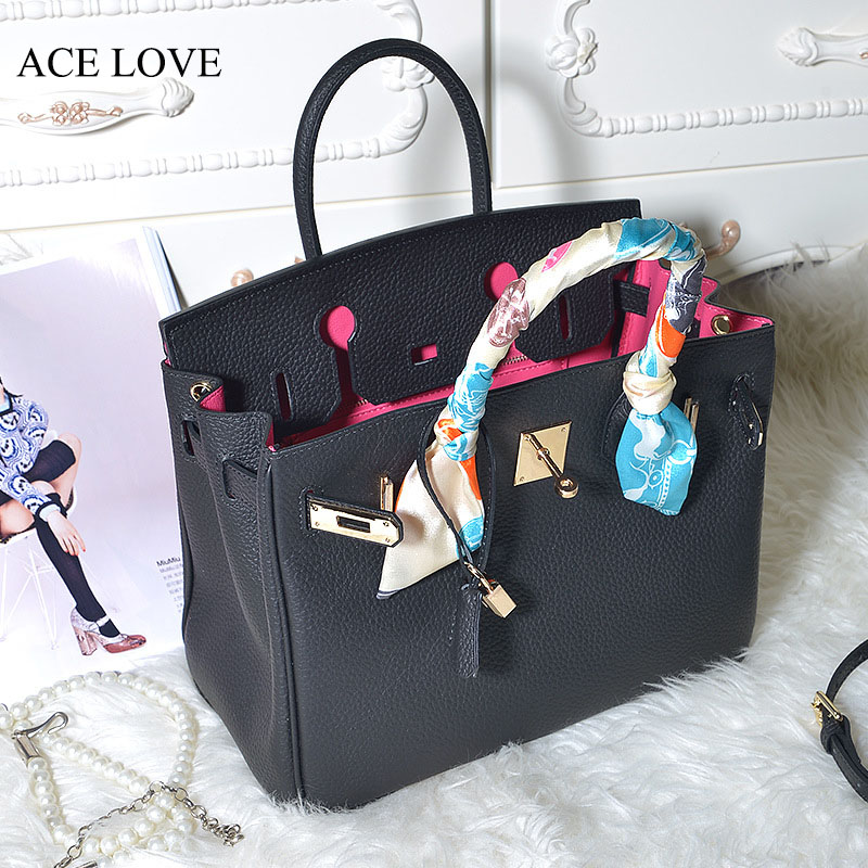 2017 New Famous Brand Genuine Leather H Lock ToteBag Woman Panelled Bag Female C