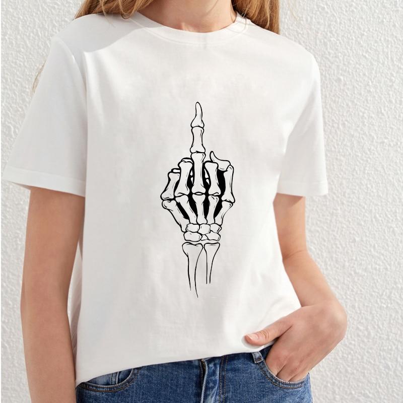 2018 Vacker Skull Utskrift T-shirt Kvinnor Fashion Streetwear T-shirt - Damkläder - Foto 4
