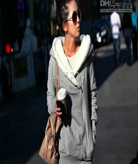 Korea Women Hoodie Jacket Coat Warm Outerwear hooded Zip Gray Black Fashion Special Pregnant women hoodie hooded longline graphic print zip up rib design black hoodie mens