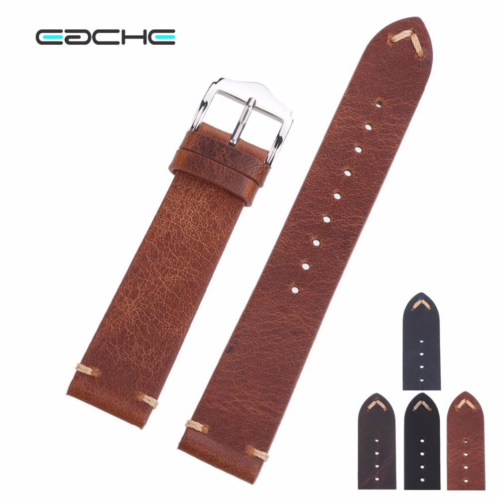 EACHE Handmade Wax Oil Skin Watch Straps Vintage Genuine Leather Watchband Calfskin Watch Straps Different Colors 18mm 20mm 22mm eache high quality crazy horse genuine leather watchband handmade watch band with speical loops different colors 20mm 22mm 24mm