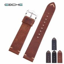 EACHE Handmade olej woskowy skóra paski do zegarków Vintage pasek do zegarka z prawdziwej skóry cielęcej paski do zegarków różne kolory 18mm 20mm 22mm