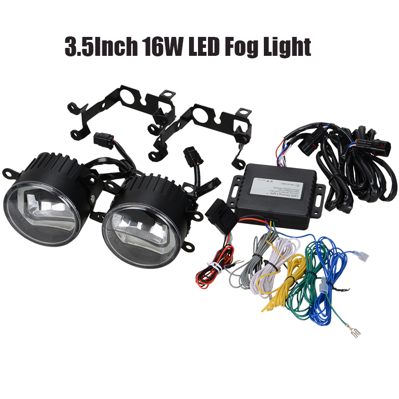 3.5Inch 16W LED Fog Light With Angel Eye DRL Daytime Running Light Lamp Bulb OffRoad Lamp For Ford Nissan Peugeot Citroen Suzuki new arrival a pair 10w pure white 5630 3 smd led eagle eye lamp car back up daytime running fog light bulb 120lumen 18mm dc12v
