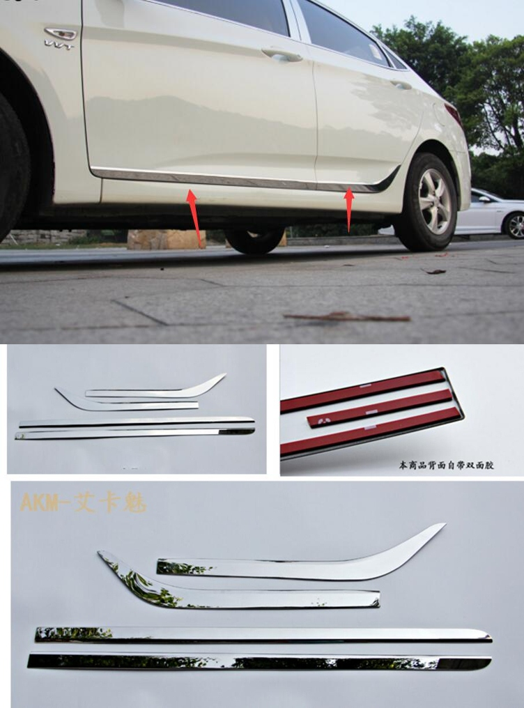 For Hyundai Solaris 2009-2016 Door Body Side Trim Cover Molding Chrome Car Accessories Auto Styling цены