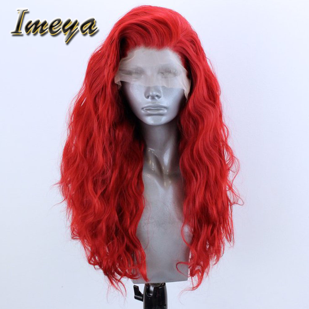 Imeya Red Wavy Synthetic  Lace Front Wigs Glueless Synthetic Hair Heat Resistant Fiber Cosplay/Party Wigs For Women