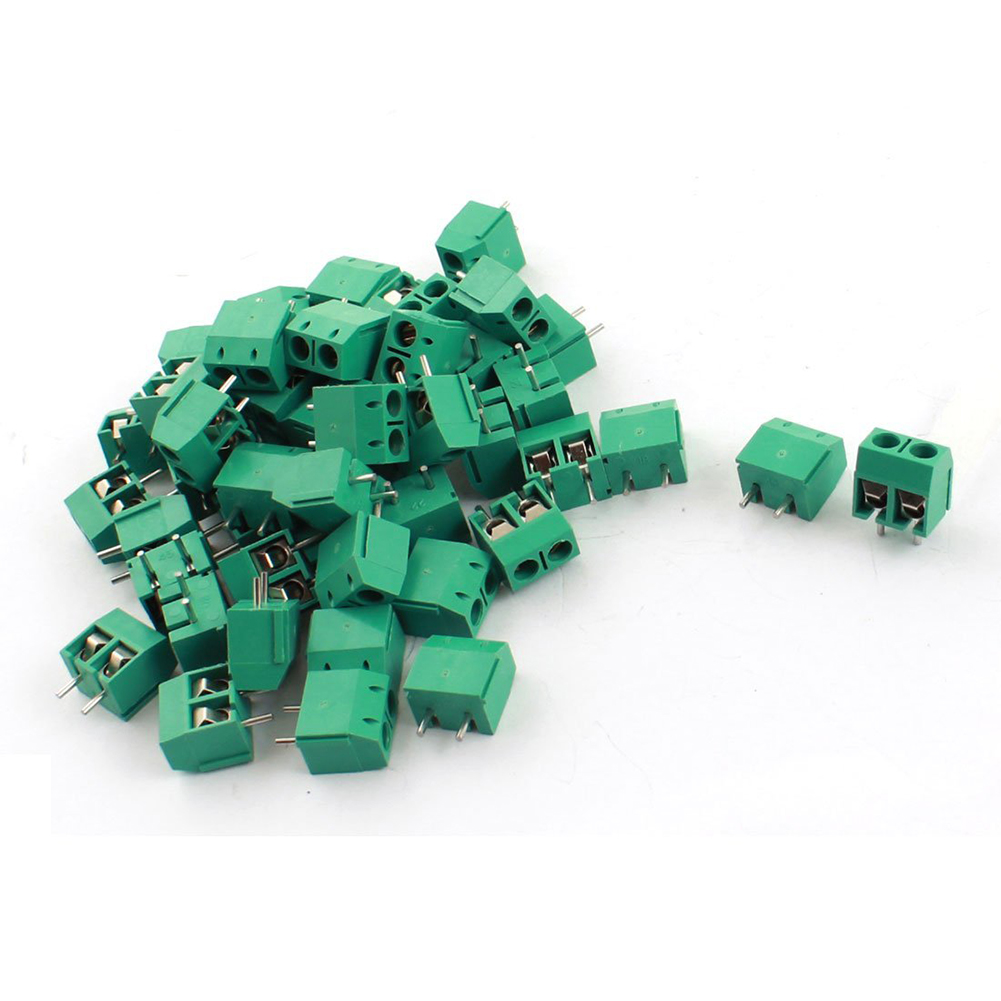 50Pcs 300V 15A 2Way PCB Board Screw Terminal Block Connector 5mm Pitch